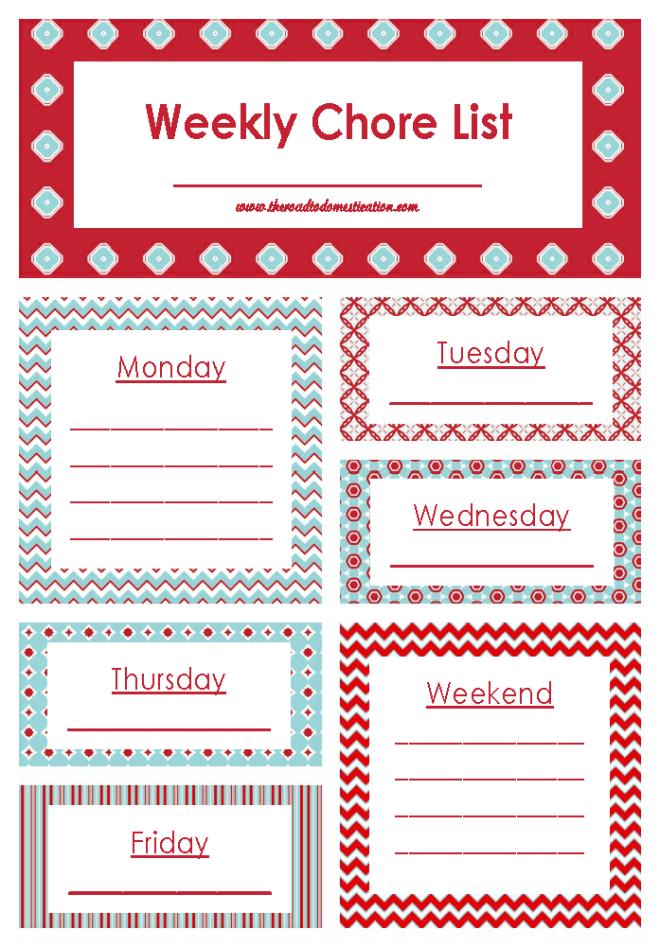Weekly Chore List Printable