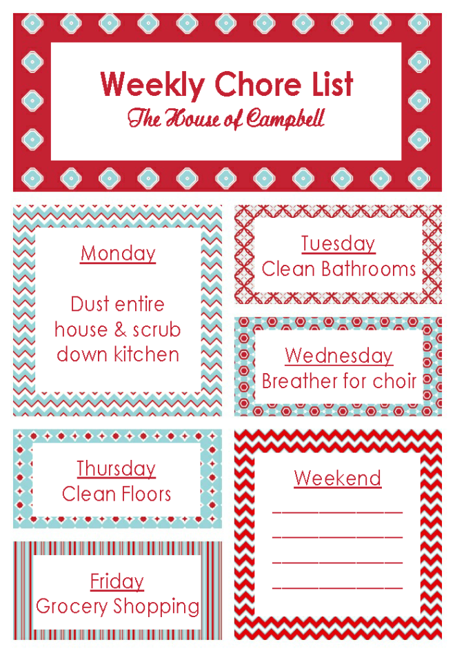 Weekly Chore List