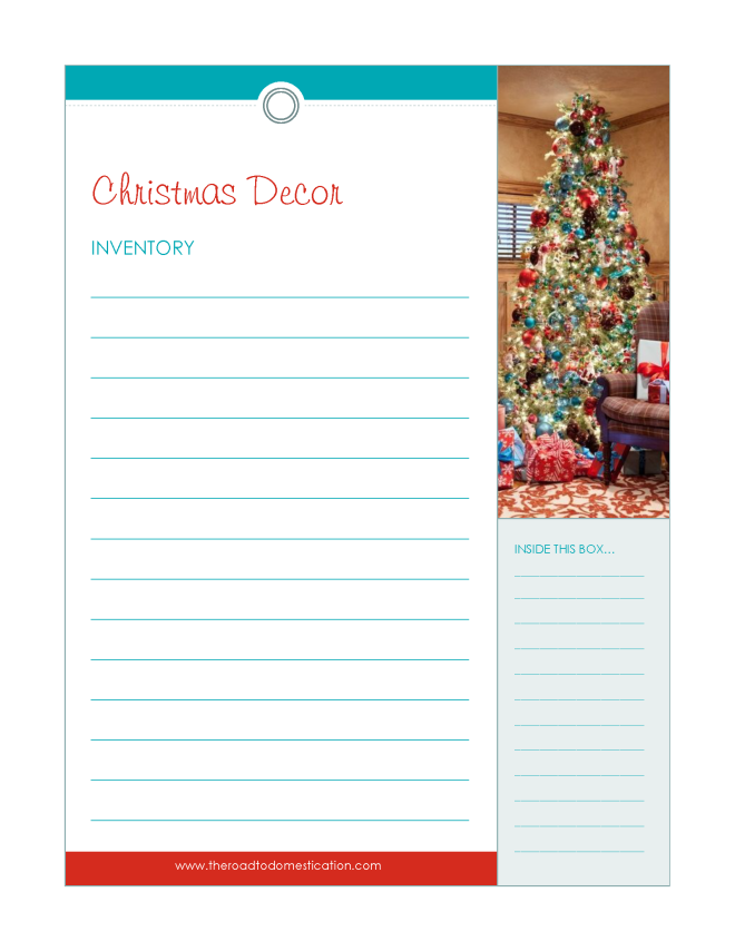 Christmas Decor Inventory Printable